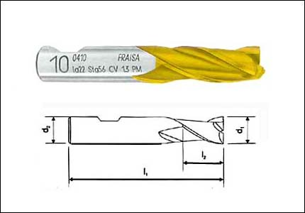 HSS-Co sintered cutter with 3 cutting edges, coated