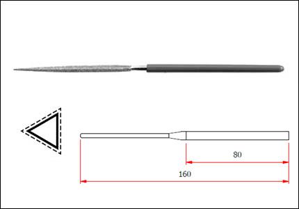 Diamond needle three-square file