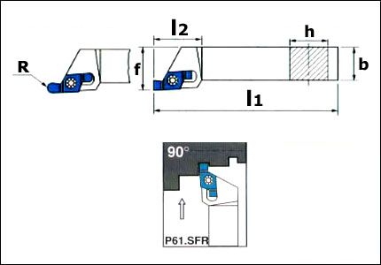 P61.SFR toolholder for external grooving and cutting-off