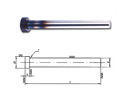 Ejector pin with cylindrical head DIN 1530 A, nitrided