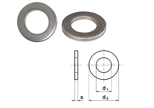 Flat stainless steel supporting washer