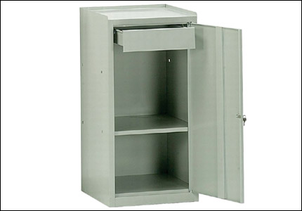 Steel cabinet with 1 shelf and 1 drawer