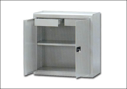 Steel cabinet with 1 shelf and 2 drawers