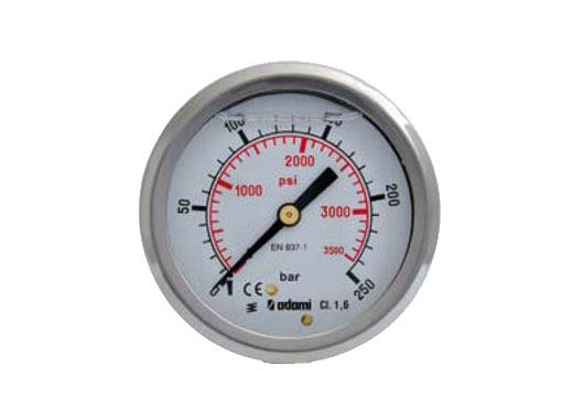 Glycerine pressure gauge, stainless case, rear connection