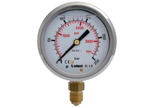 Glycerine pressure gauge, stainless case, radial connection